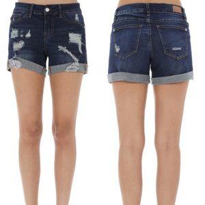 Last 2! S-M Dark Judy Blue Distressed Jean Shorts